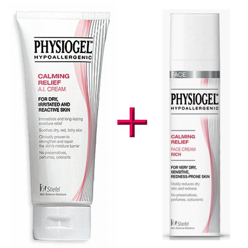 Physiogel Calming Relief AI Cream 50ml & Face Cream Rich 40ml Set