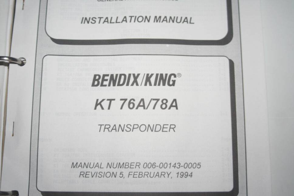 Bendix King Kt76a  78a Transponder Installation Manual 006