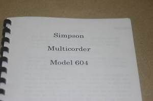 Simpson 604 Multicorder Instruction Operating Guide Maintenance Manual