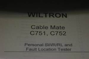 Wiltron Cable Mate C751/C752 Fault Locator Tester Operating Users Guide Manual