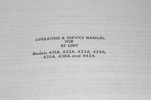 Weinschel RF Unit 431A/432A/433A/434A/435A/438A/ Operating Guide Service Manual