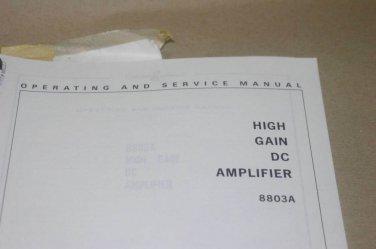 HP Hewlett Packard 8803a High Gain DC Amplifier Operating Service Manual