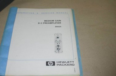 HP Hewlett Packard 8802a Medium gain DC Preamplifier Operating Service Manual