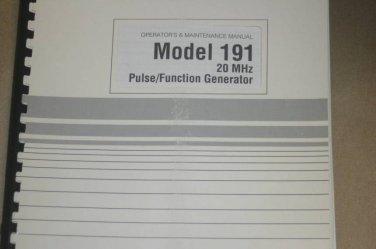 Wavetek 191 20MHz Pulse/Function Generator Operator's Maintenance Manual