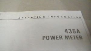 HP 435A Power Meter Operating and Service Manual