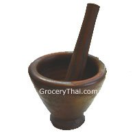 """Thai Mortar and Pestle 8"""" (Clay)"""