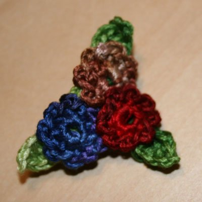 Trio Crochet Brooch
