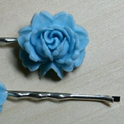 Vintage Blue Rose Hair Clips