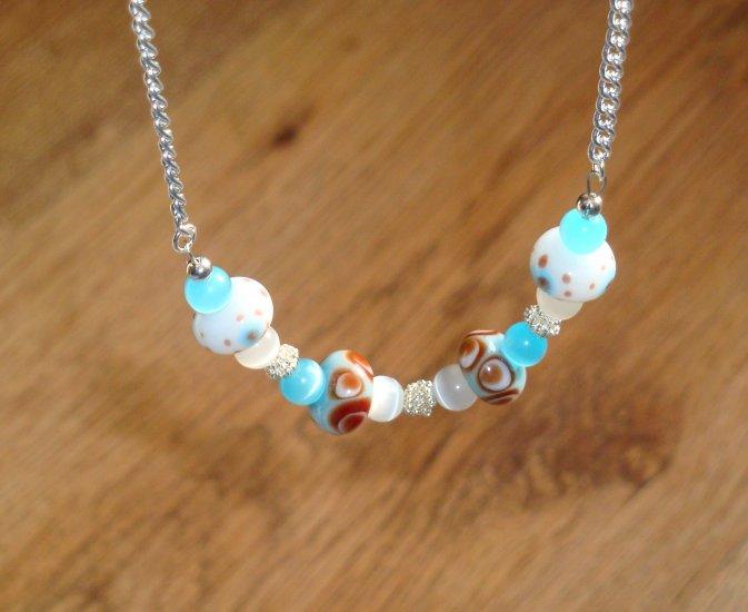 Java Blue Lampwork Necklace