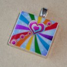 Hearts of Rainbow Scrabble Tile Pendant Necklace