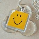 Happy Smile Glass Tile Pendant