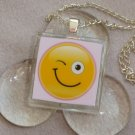 Wink Glass Tile Pendant Necklace