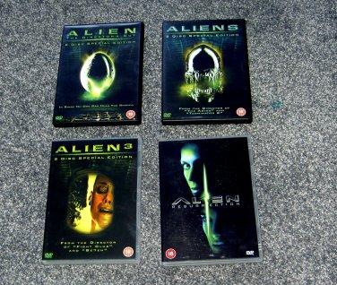 4 Alien DVDs - Region 2 Europe DVDs - Alien, Aliens, Alien 3, Resurrection