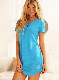 Signature Cotton henley sleepshirt Island Blue