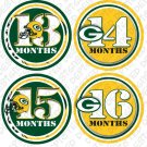 GREENBAY PACKERS NFL MONTHLY ONESIE STICKERS NEWBORN, Free Milestone Stickers