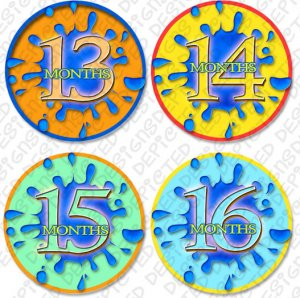SPLASHES OF COLOR ONESIE STICKERS 13 to 24 months by Onesie Stickers, Free Milestone Stickers