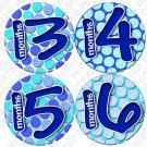 "BLUE POLKA DOTS ""Bubbles"" Onesie Stickers 13-24 months Plus 8 Free Milestone Stickers"
