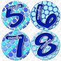 "BLUE POLKA DOTS ""Bubbles"" Onesie Stickers 1 to 12 months Plus 8 Free Milestone Stickers"