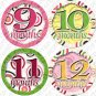 DANCING CIRCLES ONESIE STICKERS 1 TO 12 months by Onesie Stickers baby shower gifts