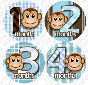 Monthly Onesie stickers Boy Monkey Stripes blue white baby shower gifts