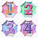 Monthly Onesie stickers bright colorful SWIRLS baby shower gifts