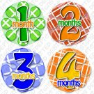Monthly Onesie stickers bright colorful TIC TAC TOE baby shower gifts