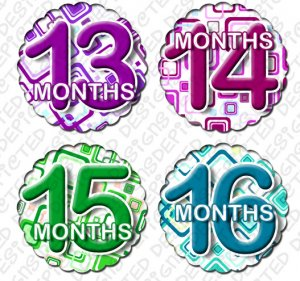 Monthly Onesie stickers BOX SQUARES 13 to 24 months baby shower gifts