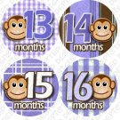 Purple Monkey Stripes Monthly Onesie stickers baby album stickers