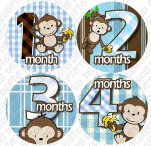 Boy blue Monkeys Go Bananas Baby Month Stickers baby album stickers