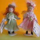 "Very Cute Pair of Porcelain Dolls with stands Limited Edition 5 1/2"" w Gift Tags"