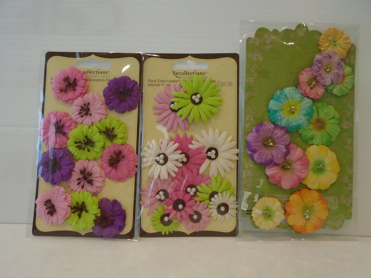 3 Beautiful Brand New Packages of Recollections Floral Embellishments