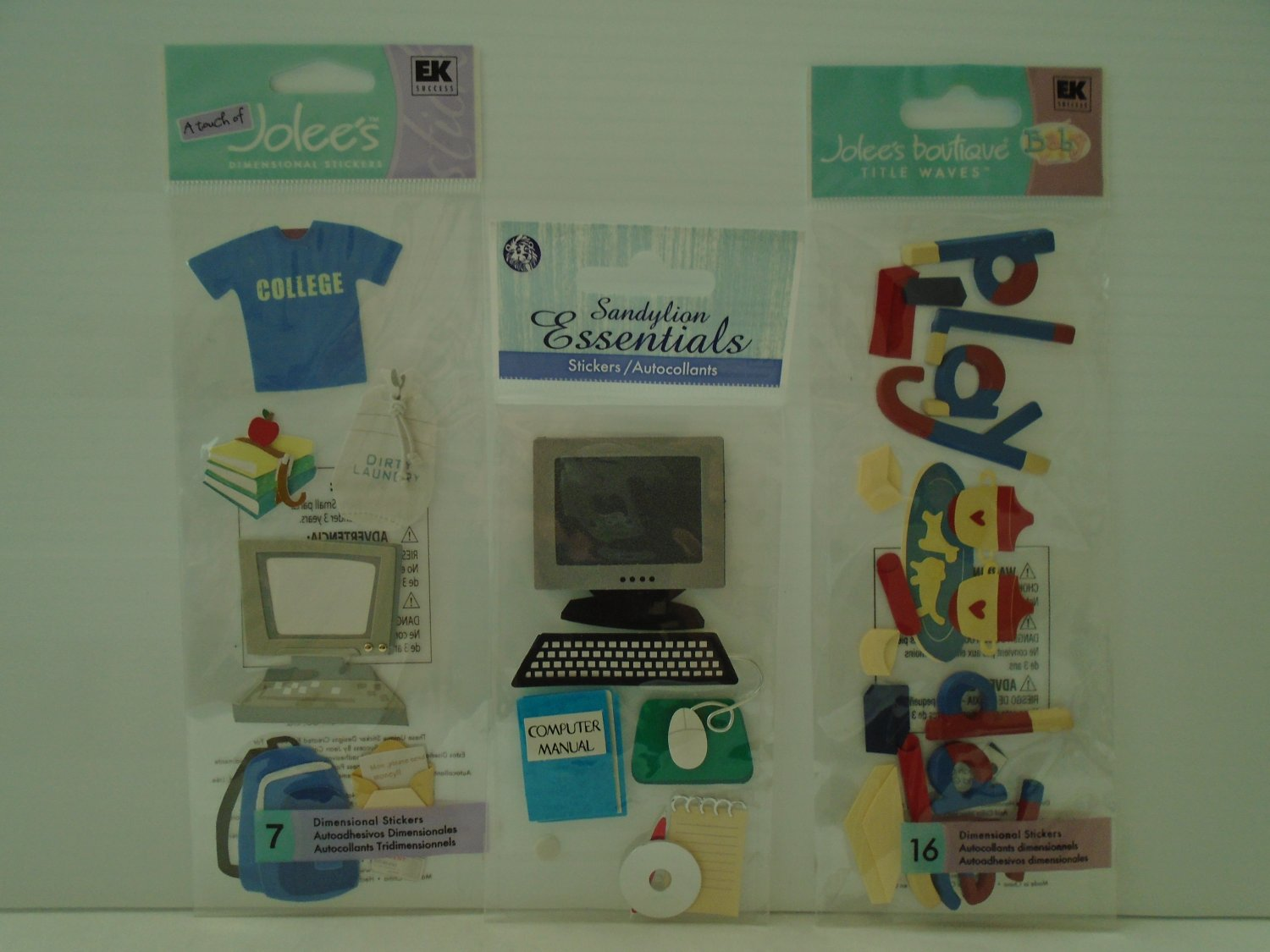 Set of 3 dimensional stickers - theme  going to college