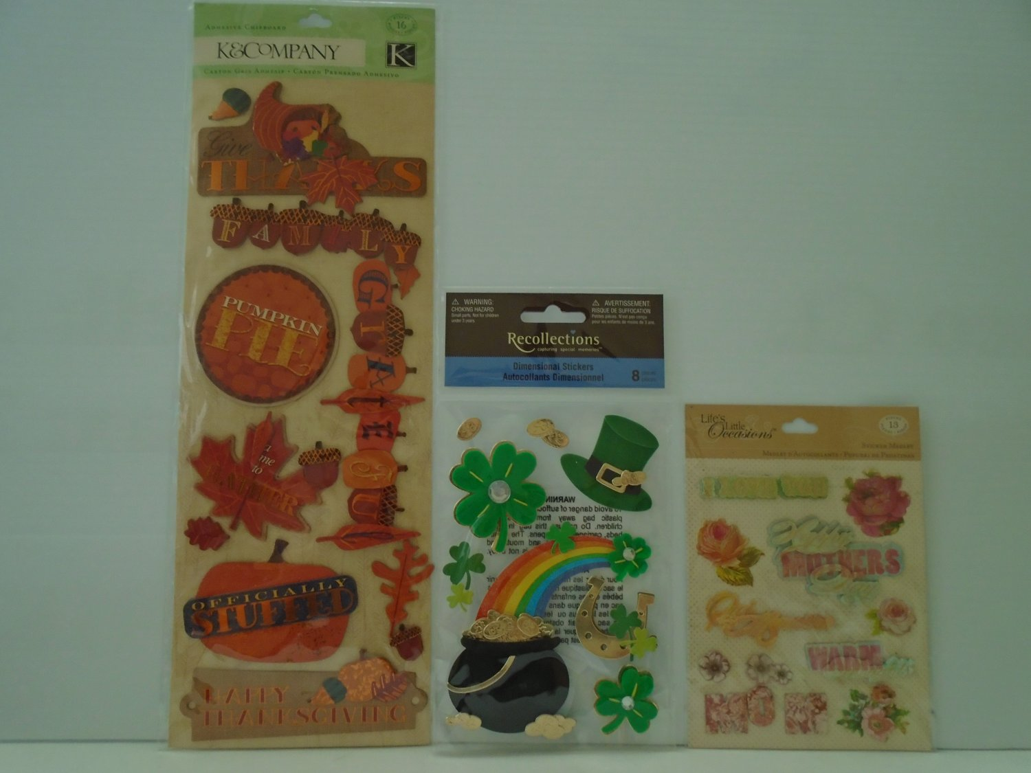 3 Holiday Themes Dimensional Stickers by K&Company, Recollections