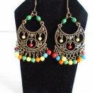 Vintage Filigree Multi-color Gems Ethnic Gypsy Statement Chandelier Hoop Earrings