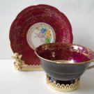 VINTAGE HAND PAINTED JAPAN CUP AND SAUCER GOLD & BURGUNDY