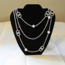 "Beautiful Macy Chain Link Faux Pearls 36"" Necklace 925 Sterling Silver"
