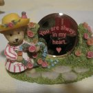 "Adorable Cherished Resin Teddy Bear Figure with ""You are always in my heart"" Mirror"