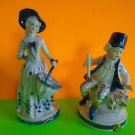 2 Blue and White Porcelain Colonial Figurines Man and Woman Great Cond Ship Fast