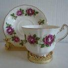 Vintage Royal Adderley Tea Cup & Saucer Rose & Gold Trim Excellent Cond Ship Fas