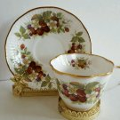 Vintage Royal Minster Bone China Teacup & Saucer Berries, England Gold Tone Trim