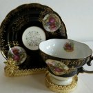 Royal Sealy China Japan Portrait Cup & Saucer Royal Blue Cream Rose/Gold EUC