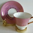 MADE IN JAPAN Tea cup and saucer pink background Gold Leaves EUC Ship Fast