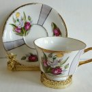 Vintage Made In Japan Tea Cup and Saucer Tulip Bouquet Gold Trim Excellent EUC