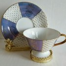 MADE IN JAPAN Tea cup and saucer blue background Gold Leaves EUC Ship Fast