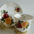 Vintage Royal Grafton Tea Cup and Saucer Rose Bouquet Happy Birthday Gift EUC