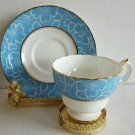 Vintage Cauldon Bone China Teacup and Saucer Blue Bckgroud White Flower England