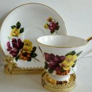 Vintage Royal Windsor English Tea cup & saucer Rose Bouquet Footed Cup Gold Trim