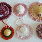 Lot of 7 Decorated Straw Hats Flowers for Dolls Bear Millinery Crafts Ship Fast