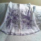 NWT Nine & Company Knee Length White Purple Floral Embroidered Skirt Sz 8 Petite