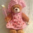 "9"" March Of Dimes Plush Stuffed Brown Teddy Bear Butterfly Catcher Pink Dress"